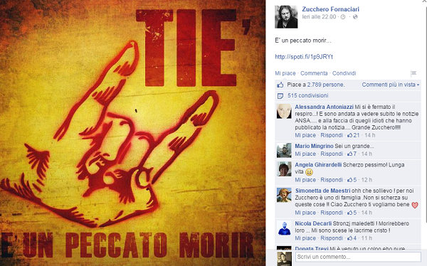 """""""Zucchero Fornaciari è morto"""", notizia falsa. E lui fa le corna su Fb FOTO"""