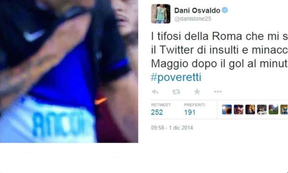 """Osvaldo: """"Tifosi della Roma poveretti"""""""