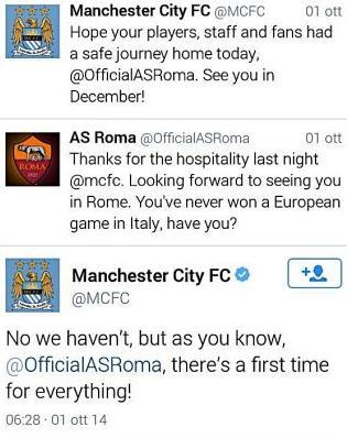 Roma perde anche su Twitter. Manchester City: C'è sempre una prima volta FOTO