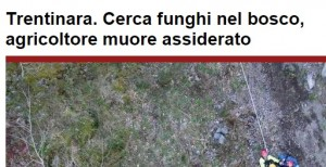 Mario Manzi morto assiderato a Trentinara. Era andato a cercare funghi