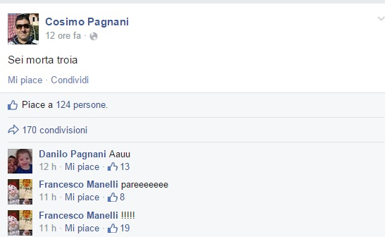 """Cosimo Pagnani uccide ex moglie Maria D'Antonio. E su Facebook: """"Sei morta troia"""""""