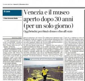 Venezia e il museo aperto dopo 30 anni. Gian Antonio Stella, Corriere della Sera