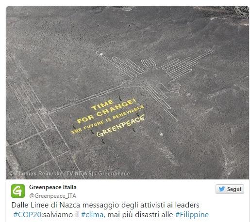 La foto pubblicata su Twitter da Greenpeace Italia