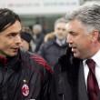 Filippo Inzaghi e Carlo Ancelotti (foto Ansa)