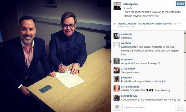 Elton John, matrimonio con David Furnish dopo 20 anni di fidanzamento