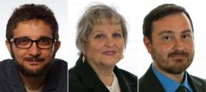 Da sinistra verso destra il deputato M5s Cristian Iannuzzi e i senatori M5s Ivana Simeoni e Giuseppe Vacciano