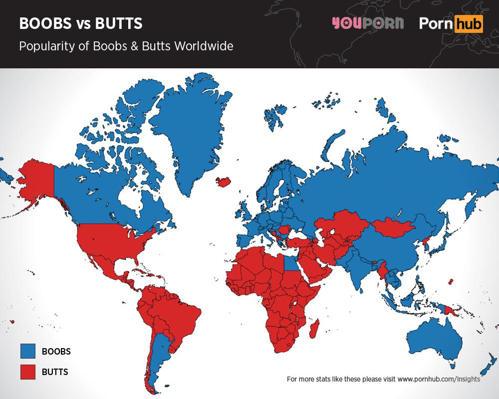Seno o lato B? La mappa mondiale delle ricerche porno FOTO