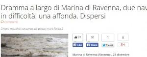 Ravenna: scontro tra navi mercantili, una affonda. Feriti e dispersi