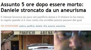 """Daniele Villa morto in panificio. Era in prova, """"assunto"""" 5 ore dopo"""