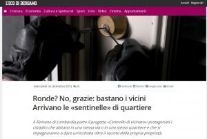 """Sentinelle di quartiere fanno """"controllo di vicinato"""": a Bergamo idea post-ronde"""