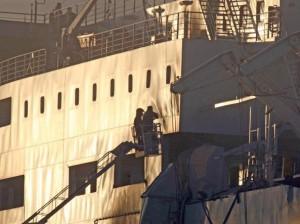 La Norman Atlantic ancorata a Brindisi (foto Ansa)