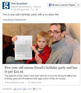 """Bimbo di 5 anni non va al compleanno. La mamma del festeggiato lo """"multa"""": 20€"""