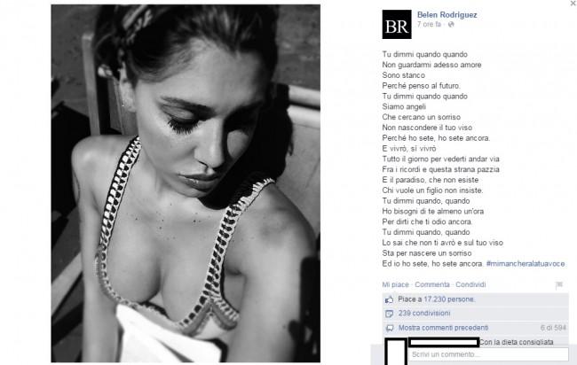Belen ricorda Pino Daniele con una foto sexy: insulti su Facebook FOTO