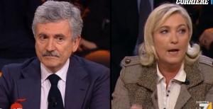 "Marine Le Pen-Massimo D'Alema VIDEO DiMartedì: ""Sermone da comunista"", ""Nostalgica"""