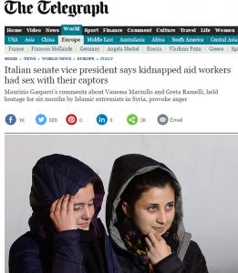 Vanessa e Greta, il tweet di Gasparri finisce sul Telegraph
