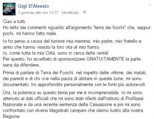 """Gigi D'Alessio su Fb: """"Miei genitori e mio fratello morti di cancro nella terra dei fuochi"""""""