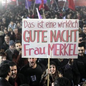 """Buonanotte, signora Merkel"" recita uno dei cartelloni"