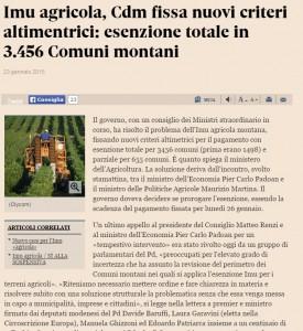 Imu agricola montana, cambiano criteri altimetrici: esenzione totale per 3.456 Comuni