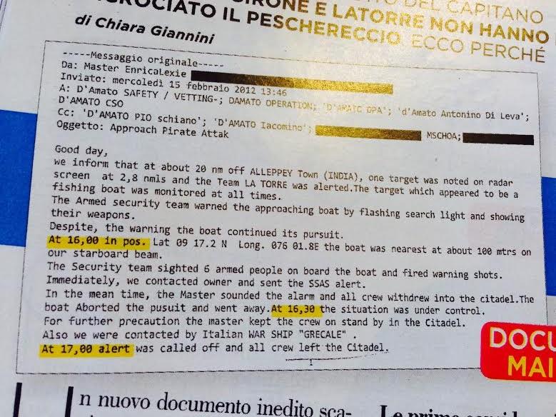 Marò, email del comandante potrebbe scagionarli: due incidenti diversi FOTO