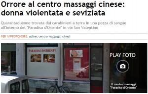 Udine, cinese violentata e accoltellata al centro massaggi orientale