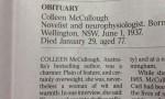 """Colleen McCullough, necrologio accusato di sessismo: """"Era senza dubbio grassa"""""""