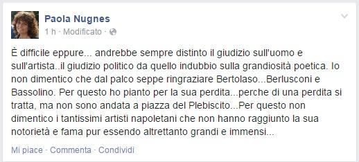 """M5S, Paola Nugnes: """"Pino Daniele ringraziò Berlusconi e Bertolaso. Non dimentico"""""""
