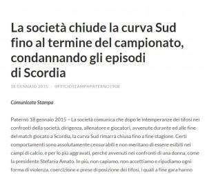 Il comunicato sul sito ufficiale del Paternò