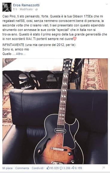 Pino Daniele, Eros Ramazzotti gli dedica Infinitamente su Facebook