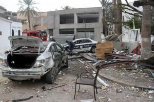 Tripoli, attentato all'ambasciata d'Algeria, il 17 gennaio scorso (Foto Lapresse)