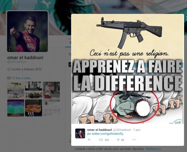 "Uomo col kalashnikov prega con fedeli. El Kaddouri twitta vignetta: ""Non è religione"""