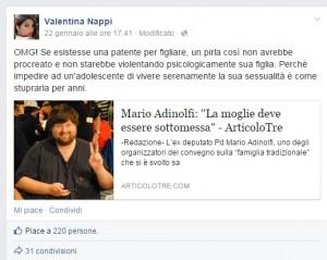 Valentina Nappi contro Mario Adinolfi