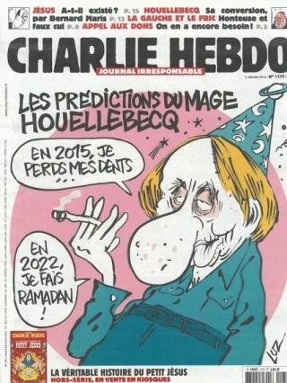 Charlie Hebdo, copertina Michel Houellebecq mediocre scrittore eroe dell'occidente