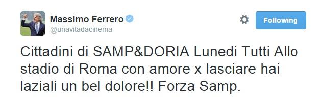 """Massimo Ferrero, tweet sgrammaticato: """"Lasciamo hai laziali un bel dolore..."""""""