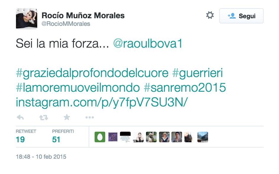 """Festival di Sanremo, Rocio su twitter: """"Raoul sei la mia forza"""" FOTO"""