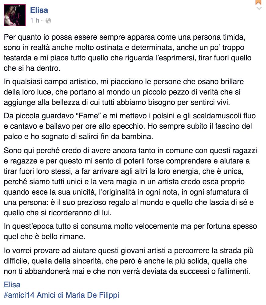 """Elisa su Facebook: """"Ad Amici aiuterò ragazzi ad esprimere loro unicità"""""""
