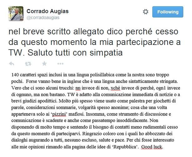 """Corrado Augias lascia Twitter: """"Sembrano i pizzini mafiosi"""""""