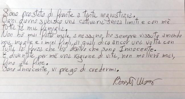 Massimo Giuseppe Bossetti, lettera a TgCom con refuso