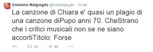 Il tweet di Cristiano Malgioglio