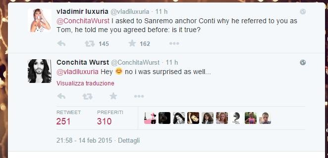 Vladimir Luxuria e lo scambio di tweet con Conchita Wurst
