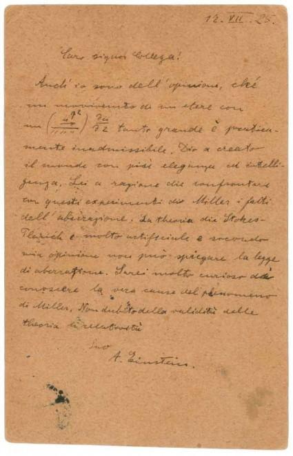 Albert Einstein, all'asta per 55mila dollari lettera in italiano FOTO