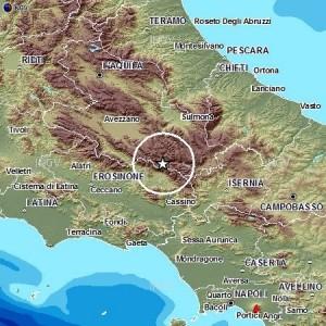 La mappa dell'epicentro (dal sito Ingv)