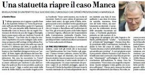"""Il Fatto Quotidiano: """"Una statuetta riapre il caso Manca"""""""