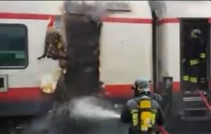 In fiamme vagone bar del treno Milano-Venezia