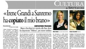 """Il Gazzettino: """"Irene Grandi a Sanremo ha copiato il mio brano"""""""
