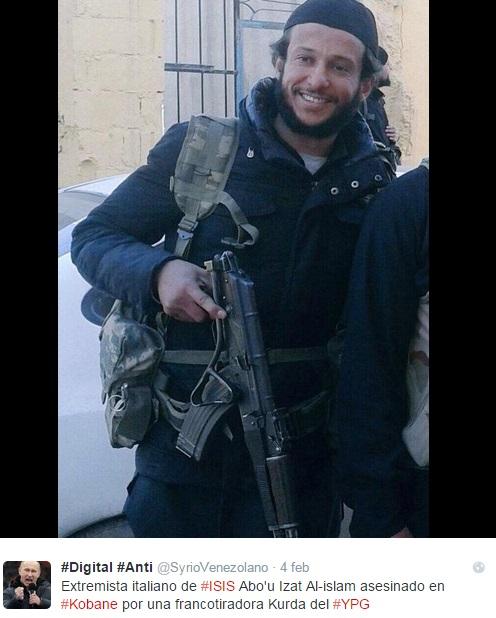 Italiano e combattente per l'Isis. Ucciso in Siria da un cecchino donna FOTO
