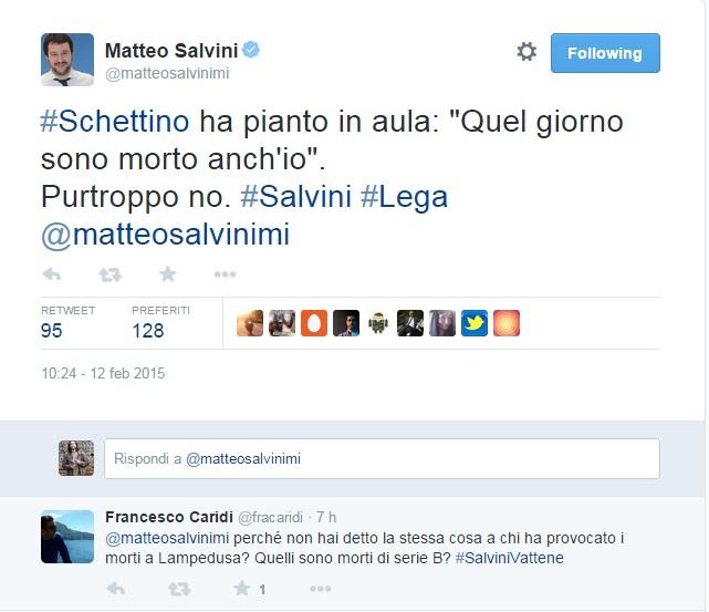 """Schettino: """"Quella notte sono morto anche io"""". Salvini twitta: Purtroppo no"""