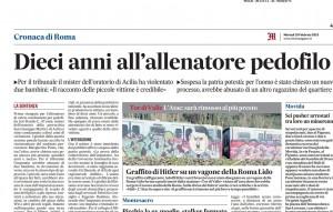 Acilia (Roma): allenatore condannato a dieci anni per pedofilia