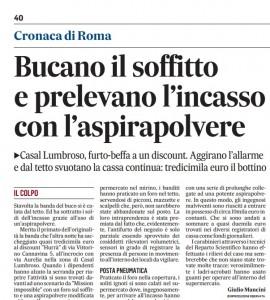 Roma: bucano il soffitto e prelevano l'incasso con l'aspirapolvere