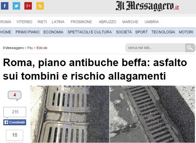 Roma, tombini ricoperti di asfalto per coprire buche. Ora rischio intasamenti