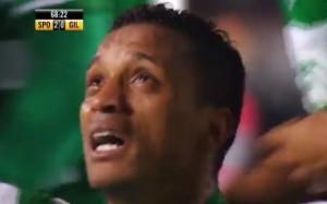Le lacrime di Nani dopo il gol